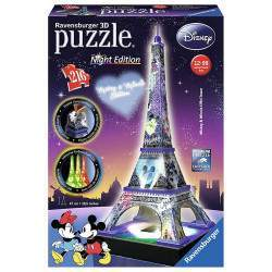 Quebra cabeça Ravensburger Puzzle 3D LED Torre Eiffel Mickey & Minnie Night Edition (216pc